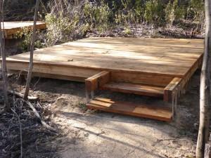 Kangaroo Island camp deck timber structural design