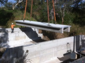precast concrete bridge slab crane into final position